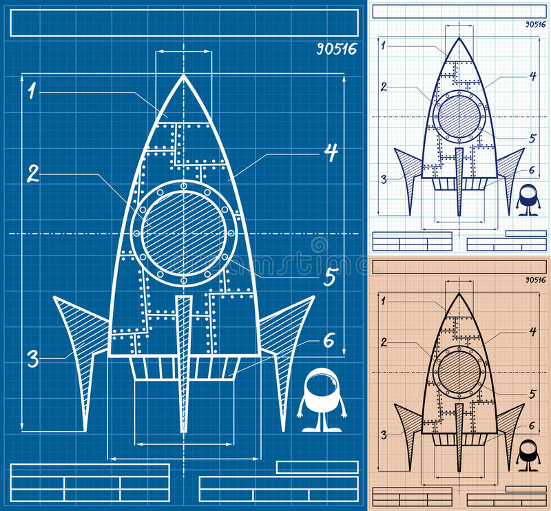 Rocket Blueprint Cartoon. Cartoon blueprint of rocket ship in 3 versions. No transparency and gradients used stock illustration