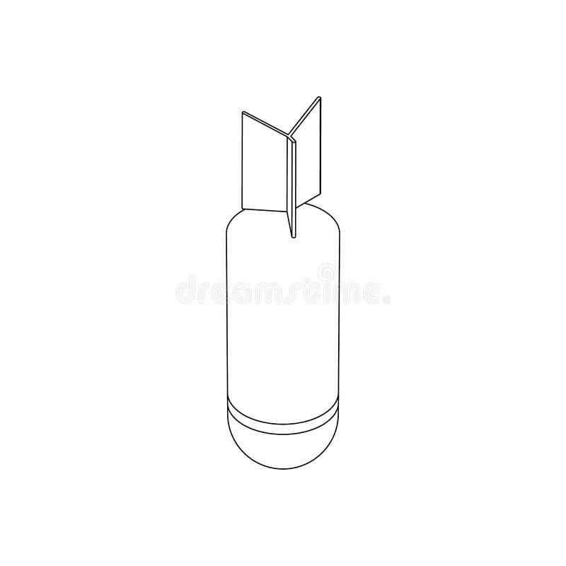 Rocket-Bombenikone, isometrische Art 3d stock abbildung