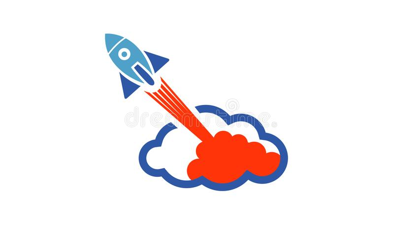Rocket Booster Cloud Object Logo ilustración del vector