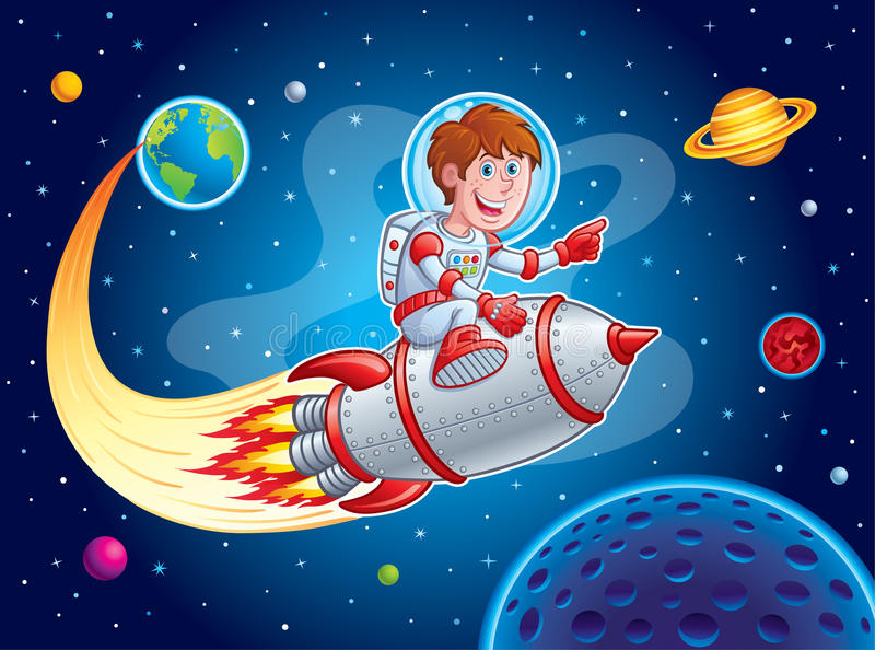 Rocket Boy Blasting from Earth to Outer Space royalty free illustration