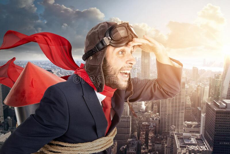 Rocket businessman looking to the future stock image