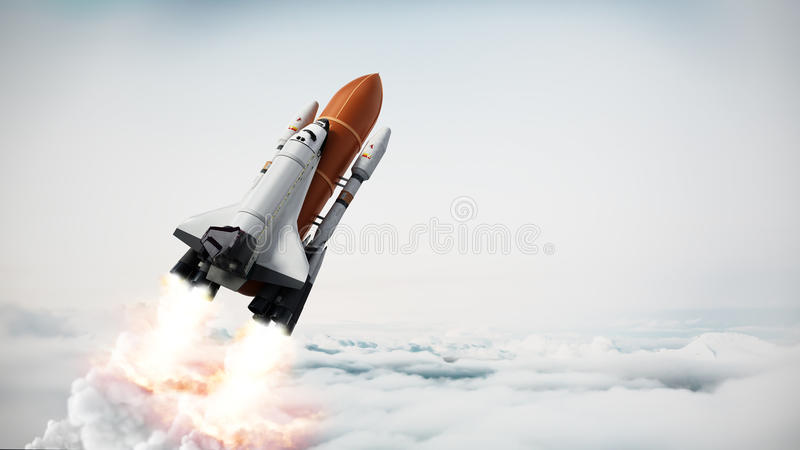 Rocket carrying space shuttle launches off. royalty free illustration