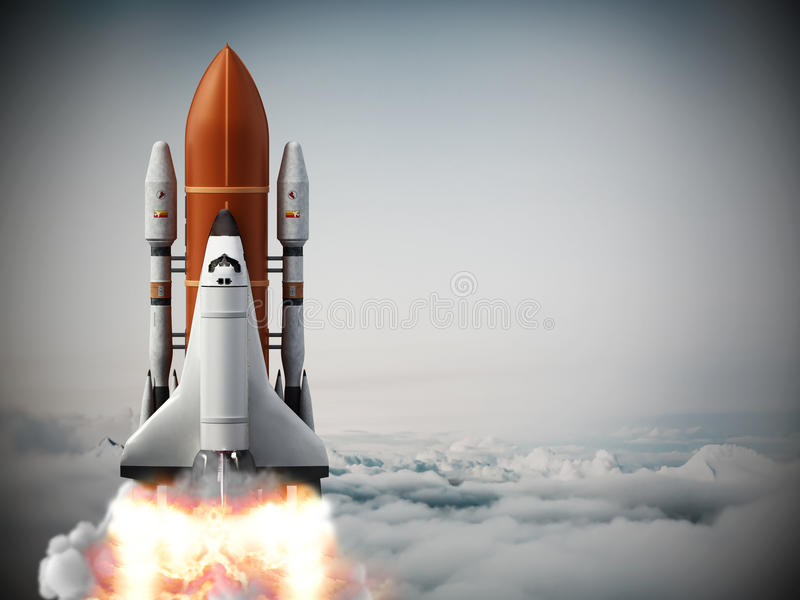 Rocket carrying space shuttle launches off. vector illustration