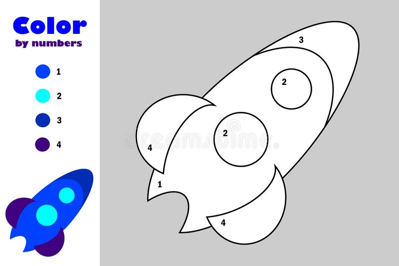 Rocket in cartoon style, color by number, education paper game for the development of children, coloring page, kids preschool vector illustration