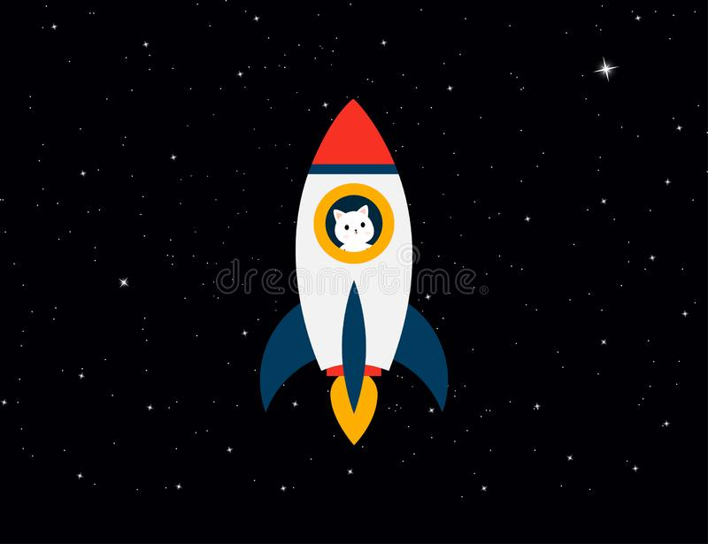 Rocket with cat astronaut on background stars sky. Rocket with a cat flies up. Cat with rocket in space stock illustration
