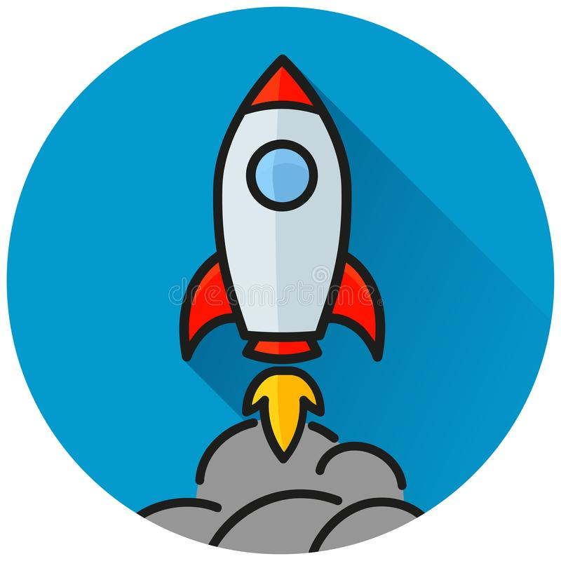 Rocket circle blue icon concept vector illustration