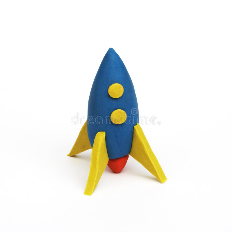 Rocket, clay modeling. A rocket made from clay stock photography