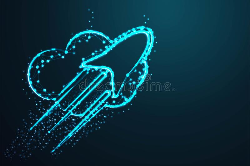 rocket cloud, Abstract wire low poly, Polygonal wire frame mesh looks like constellation on dark blue night sky with dots and star vector illustration