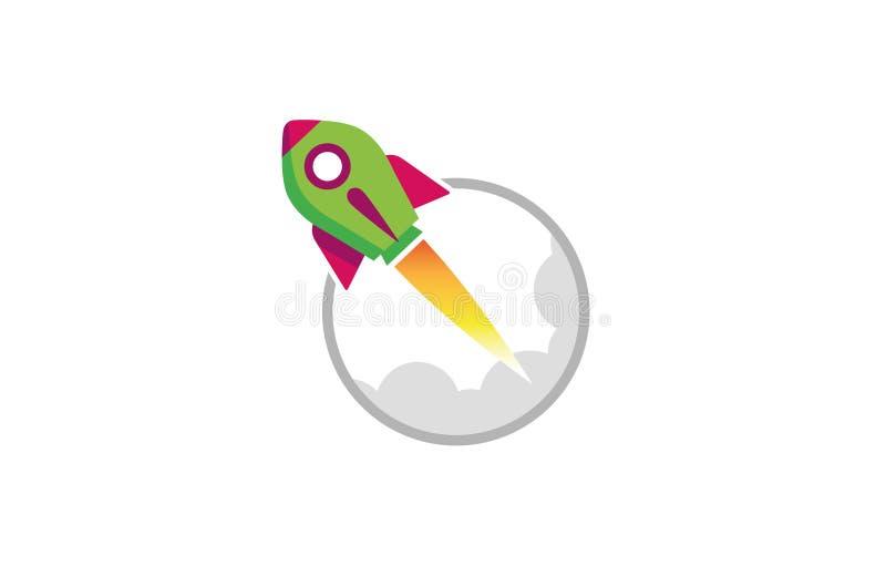 Rocket Cloud Logo verde creativo libre illustration