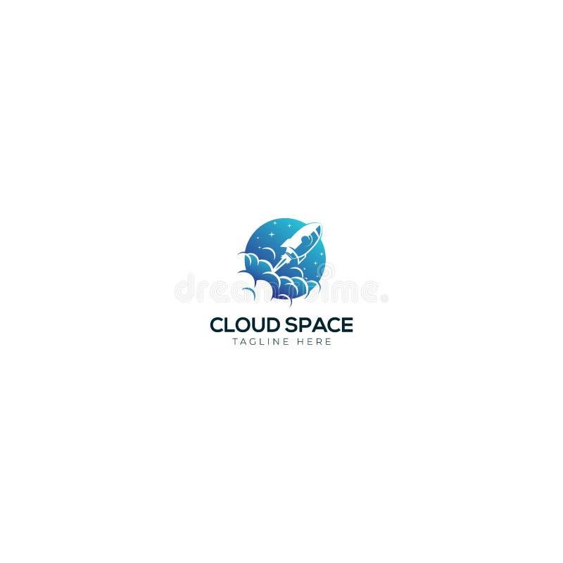 Rocket And Cloud Space-embleemontwerp stock illustratie