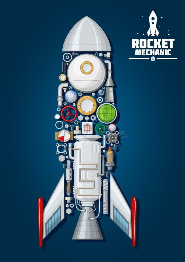 Rocket com as peças de motor detalhadas, estrutura de corpo ilustração royalty free