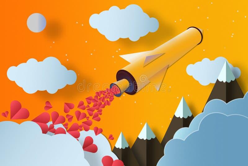 Rocket com muitas montanhas e nuvens dos corações Conceito do amor imagens de stock