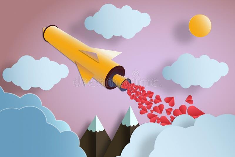 Rocket com muitas montanhas e nuvens dos corações Conceito do amor imagens de stock royalty free