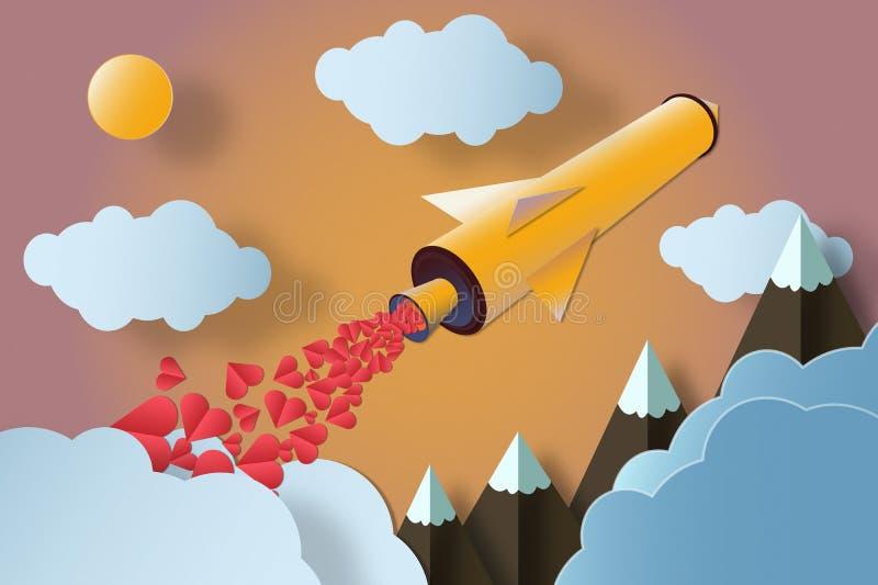 Rocket com muitos corações lança-se ao céu colorido fotografia de stock