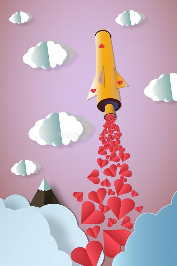 Rocket com muitos corações lança-se ao céu colorido Conceito do amor foto de stock royalty free