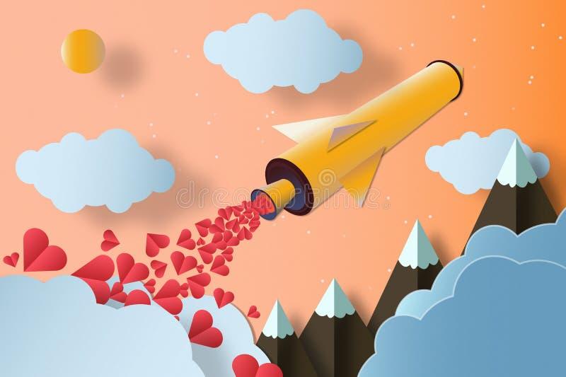 Rocket com muitos corações Montanhas e nuvens Conceito do amor imagens de stock royalty free
