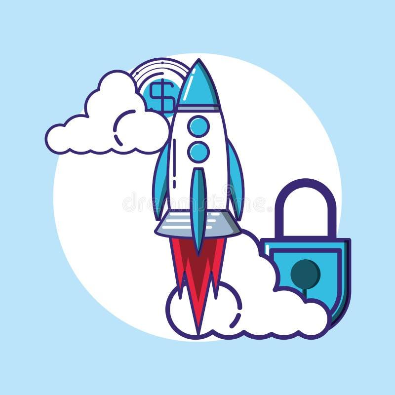 Rocket começa acima com cadeado ilustração do vetor