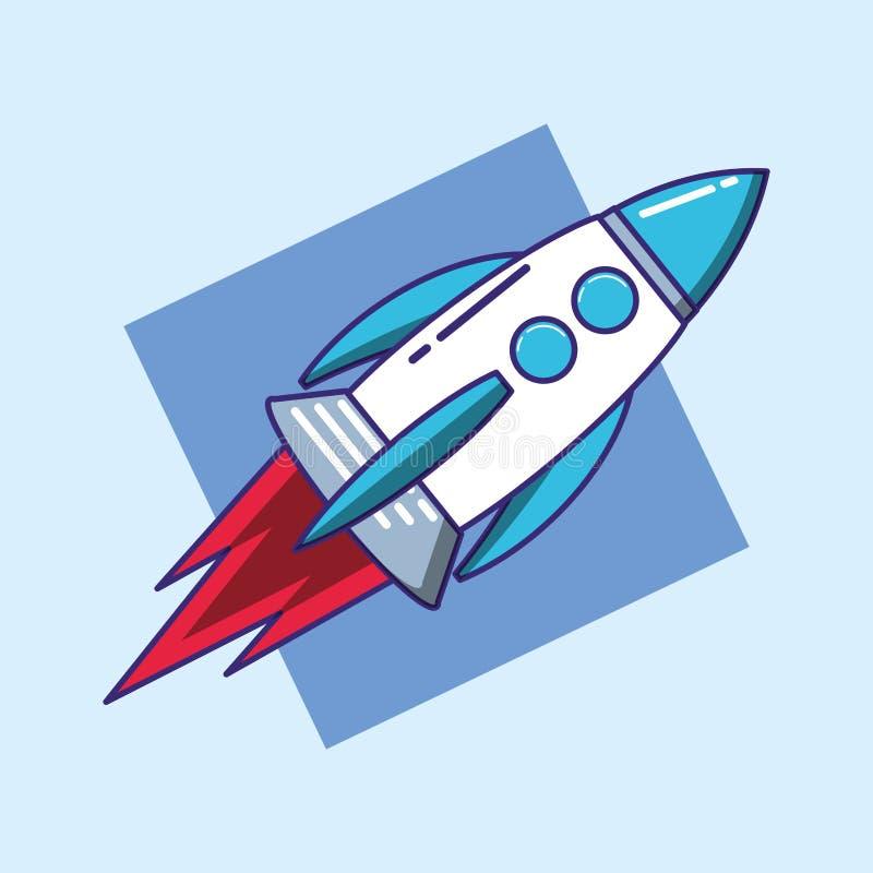 Rocket começa acima o ícone ilustração do vetor