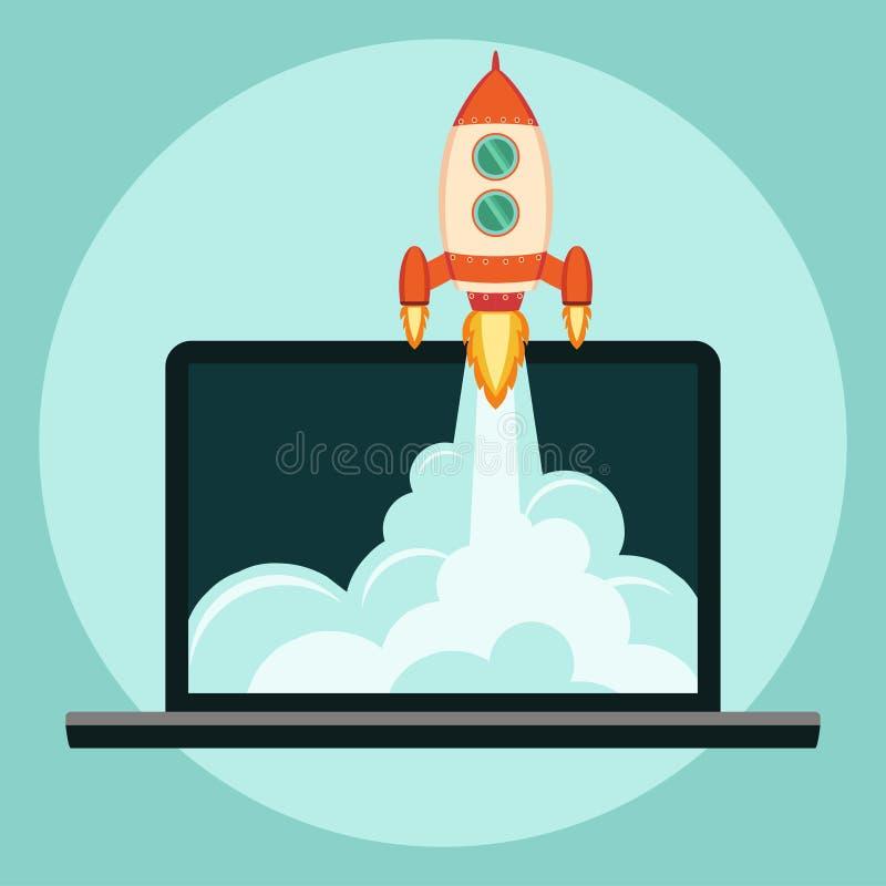 Rocket começa acima o conceito ilustração do vetor