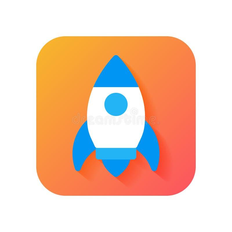 Rocket, commencent, icône de lanceur Icône moderne dans le style plat sur le fond de gradient Icône de vecteur pour tous buts illustration de vecteur