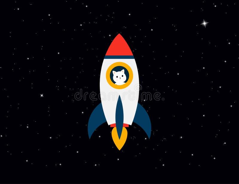 Rocket con l'astronauta del gatto sul cielo delle stelle del fondo Rocket con un gatto vola su Gatto con il razzo nello spazio illustrazione di stock