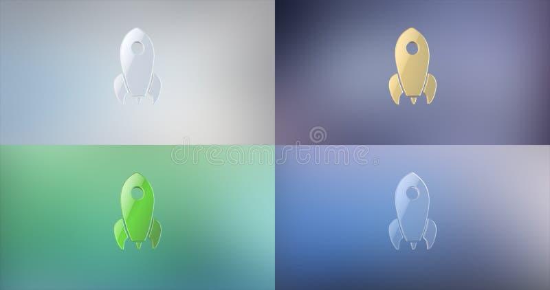 Rocket 3d Icon. On gradient background vector illustration