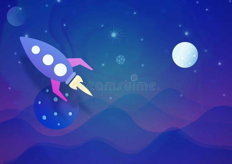 Rocket dans l'espace avec la planète image libre de droits