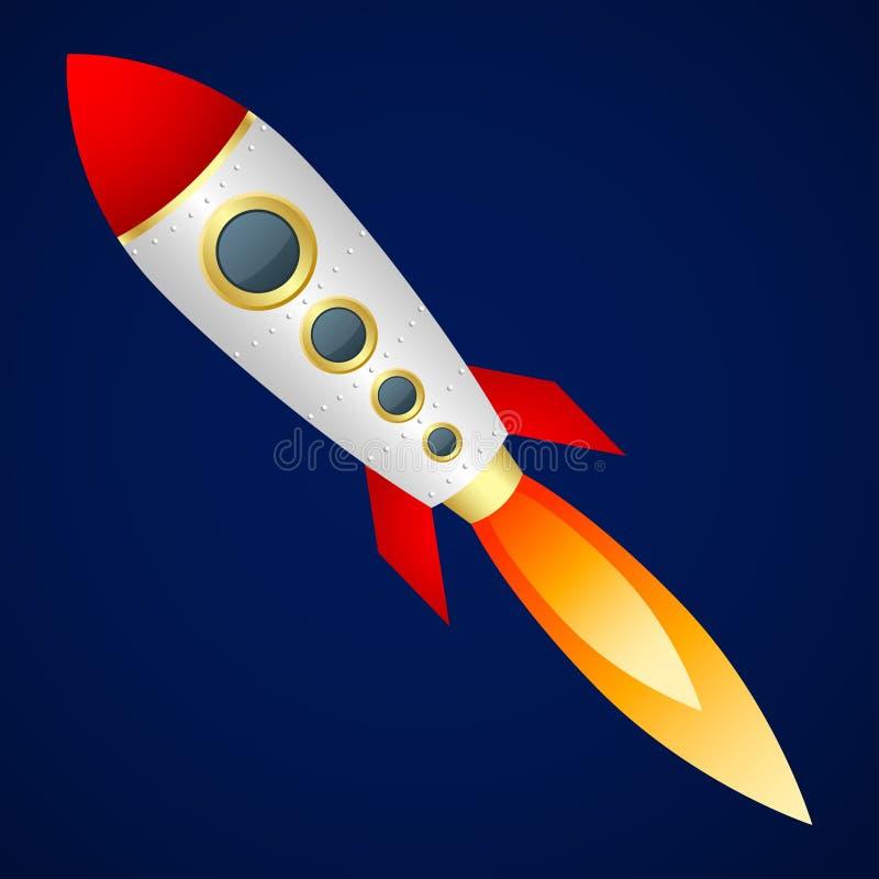 Rocket on a dark blue background. Cartoon style. Vector Image. Rocket on dark blue background. Cartoon style. Vector Image stock illustration