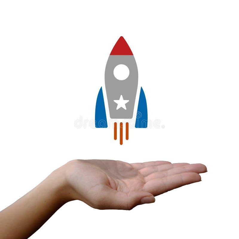 Rocket, das von der Hand sich entfernt lizenzfreies stockfoto