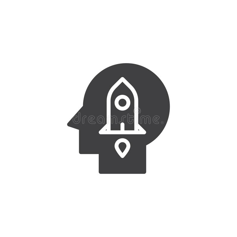 Rocket de lanzamiento en icono del vector de la cabeza humana libre illustration