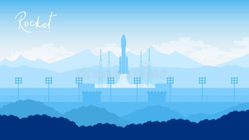 Rocket decola no backround estrelado do céu ilustração royalty free