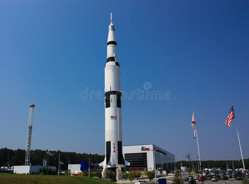 A Rocket at the US Space Center in Huntsville. A Rocket on display at the US Space Center located in Huntsville, Alabama stock photo