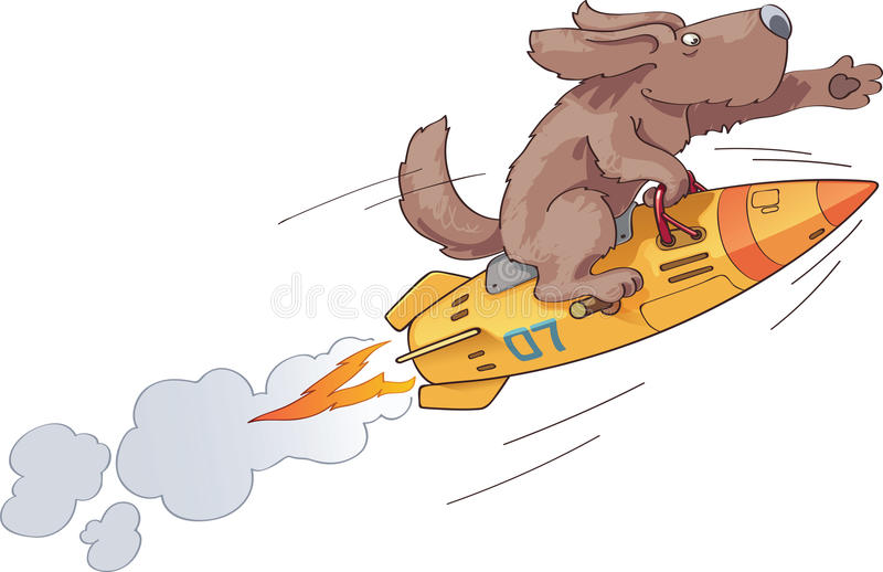 Rocket Dog. The brave first dog the astronaut is flying on a fast space retro-style rocket with an inspiration royalty free illustration