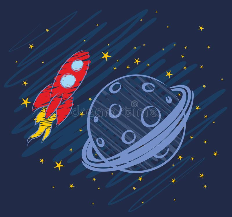 Rocket Drawing no espaço ilustração royalty free