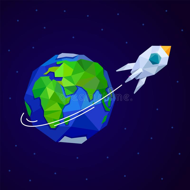 Rocket and Earth on dark blue sky. Polygonal style. Symbol of 12 April Cosmonauts Day stock illustration