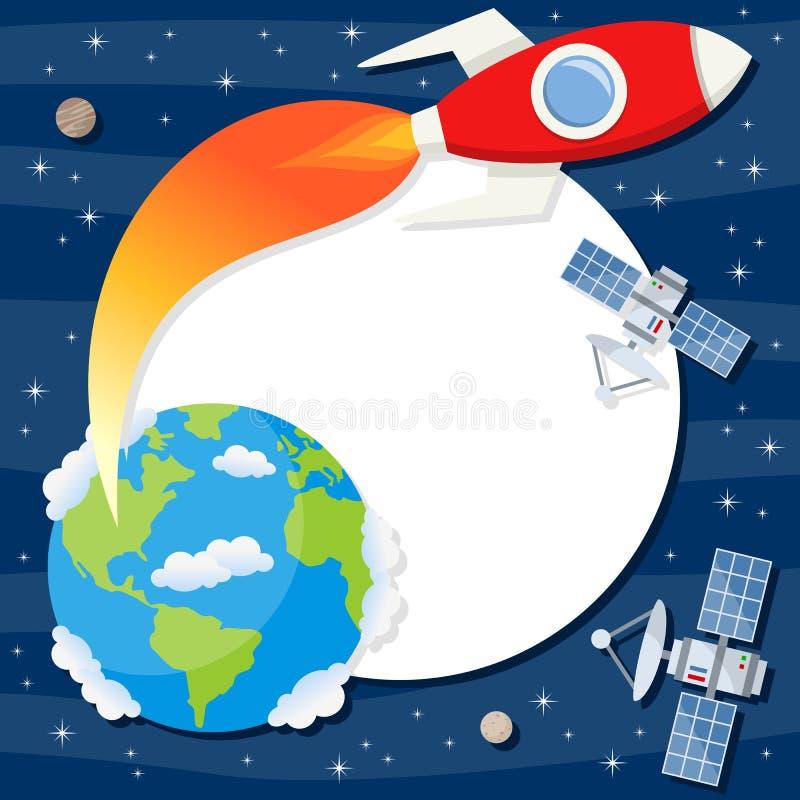 Rocket Earth Satellites Photo Frame ilustração do vetor