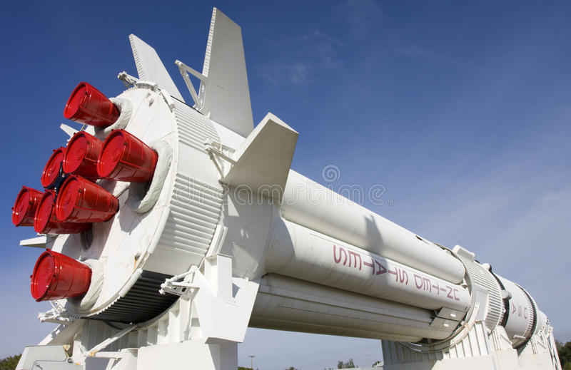 Rocket em Kennedy Space Center, Florida fotografia de stock