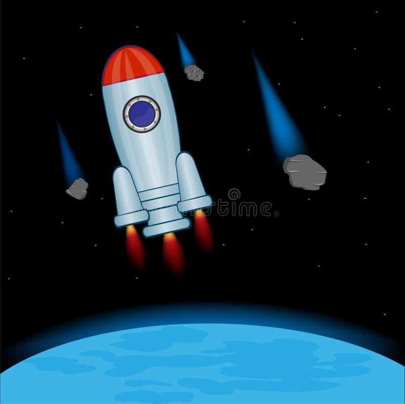 Rocket en cosmos ouvert illustration de vecteur
