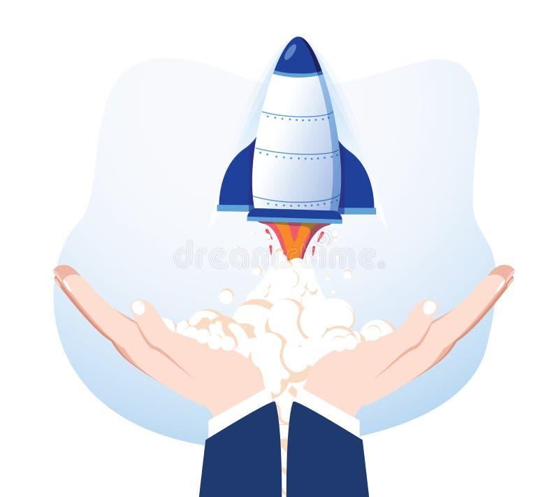 Rocket en las manos aisladas en fondo Nave espacial del lanzamiento Producto de lanzamiento del negocio, desarrollo de proyecto E ilustración del vector
