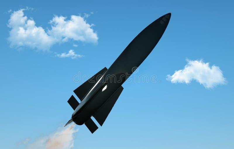 Rocket en vol sur le fond de ciel bleu Missile militaire en vol contre le ciel ogive, bombe atomique, produit chimique illustration libre de droits