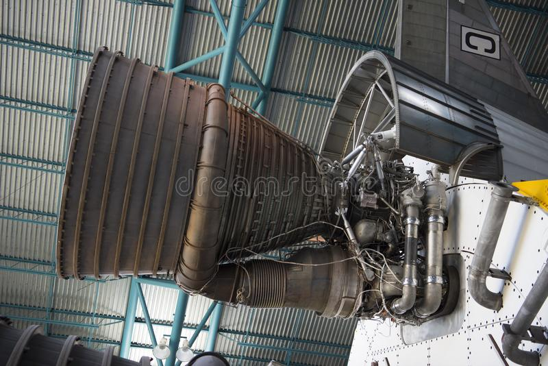 Saturn V rocket engine for Moon Landing. A rocket engine from the Saturn V rockets that made it to the moon, on display at the Kennedy Space Center, Florida royalty free stock image