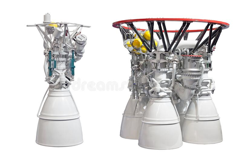 Rocket engines, engine with two nozzles and engine with four nozzles. Isolated on white backgroung. royalty free stock image