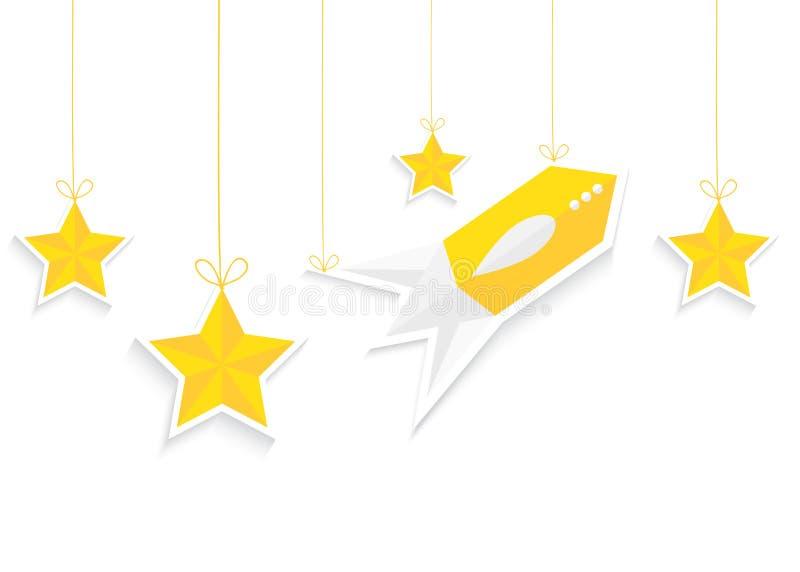 Rocket et étoiles d'isolement sur le fond blanc Vecteur eps10 illustration libre de droits