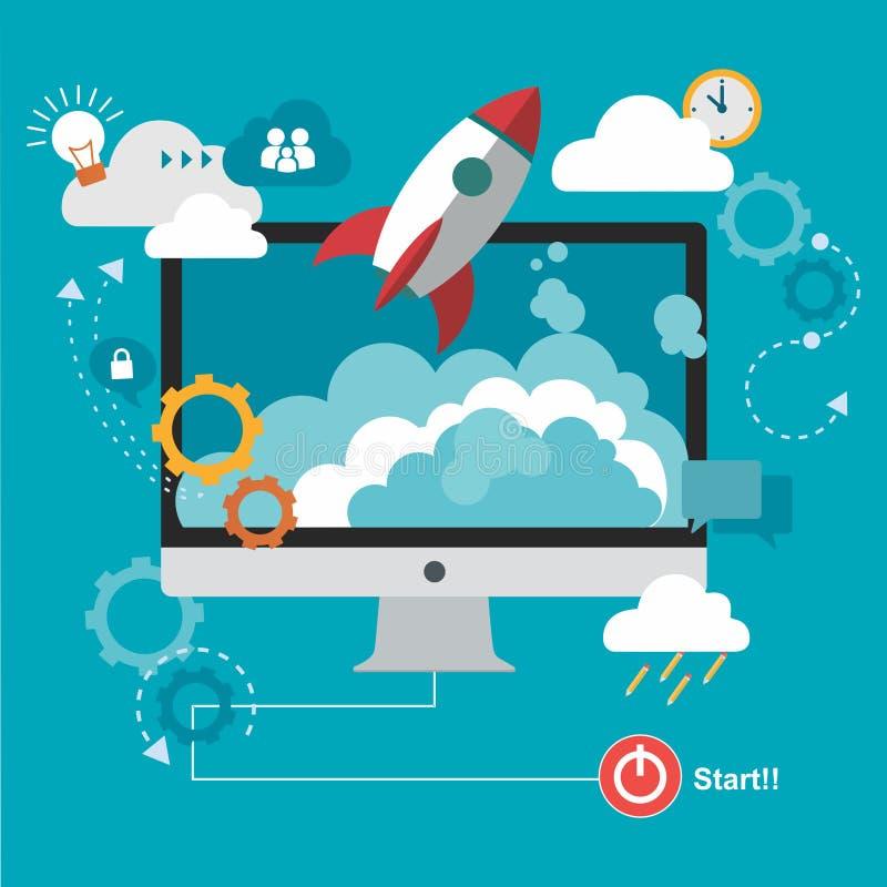 Rocket et nuage avec l'ordinateur photo stock