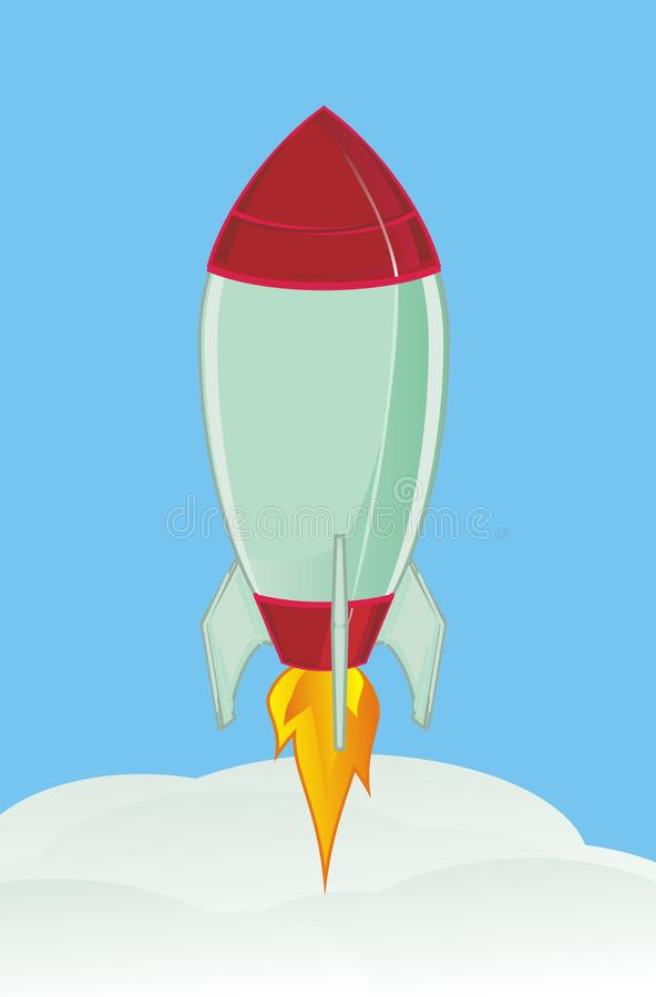 rocket and sky stock illustration