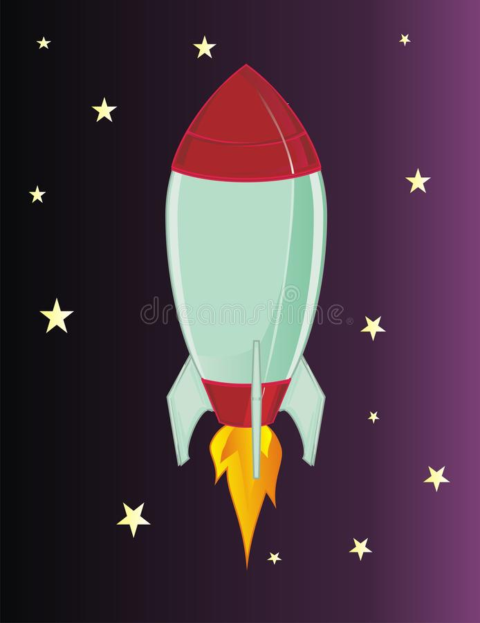 Rocket and stars. Rocket with a fire and many yellow stars stock illustration