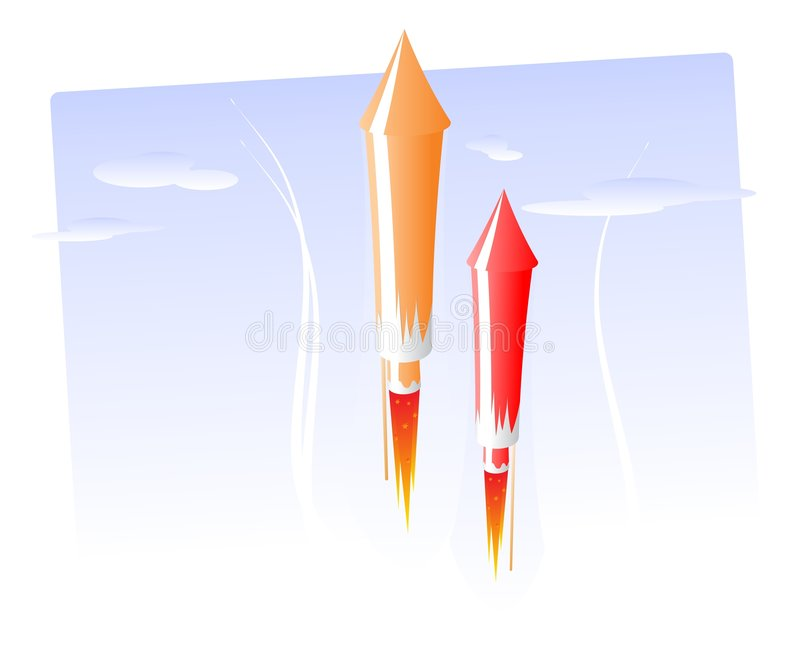 Rocket firework. Fire start sky launch blue vector illustration
