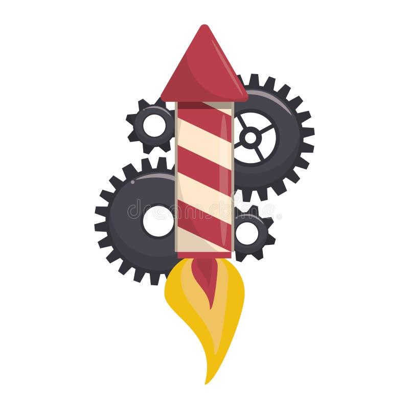 Rocket firework gunpowder fire cartoon. Rocket firework taking off with gunpowder fire and gears support cartoon vector illustration graphic design royalty free illustration