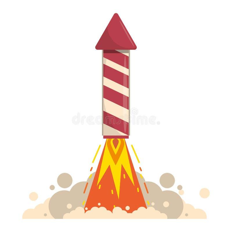 Rocket firework gunpowder fire cartoon. Rocket firework taking off with gunpowder fire cartoon vector illustration graphic design stock illustration
