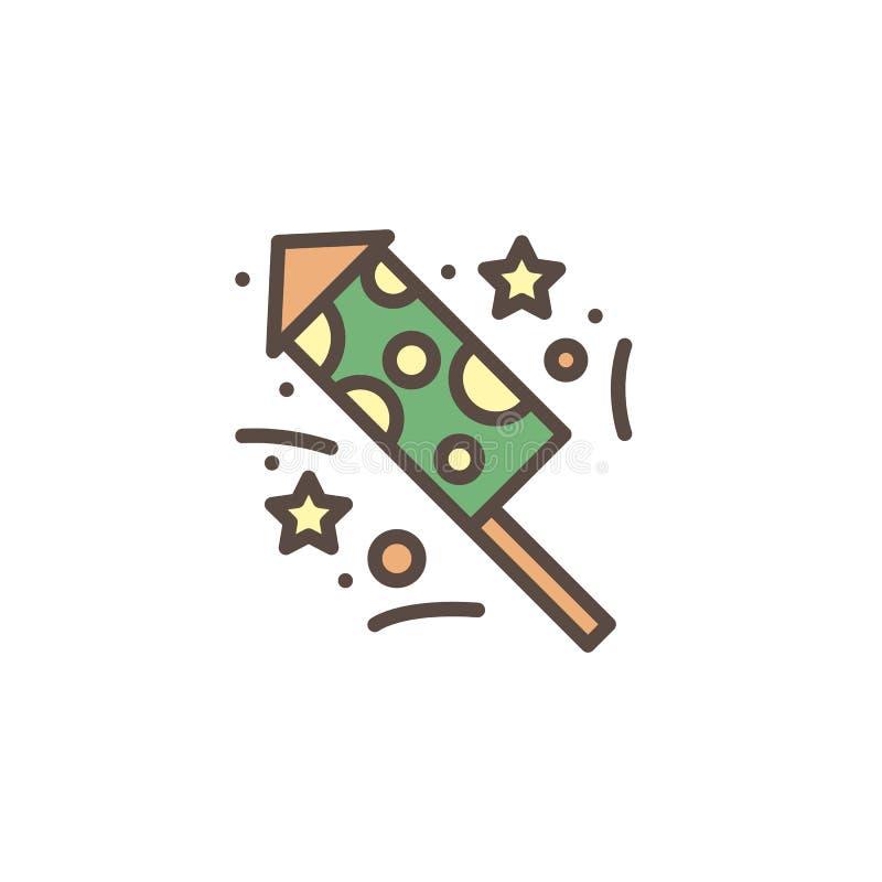Rocket fireworks filled outline icon vector illustration